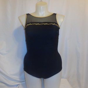 Swimsuit 18W One Piece Black Gold Mesh Embroidered